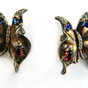 Vintage 1940s Trifari Crown Patented Butterfly Earrings