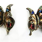 Vintage 1940s Trifari Crown Patented Butterfly Earrings