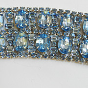Outrageous Bling Massive 2 inch Wide High End  1950s Designer Rhinestone Bracelet