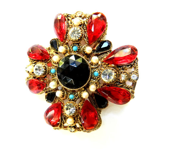 Exquisite Vintage Maltese Brooch 1950s Red Faux Pearls