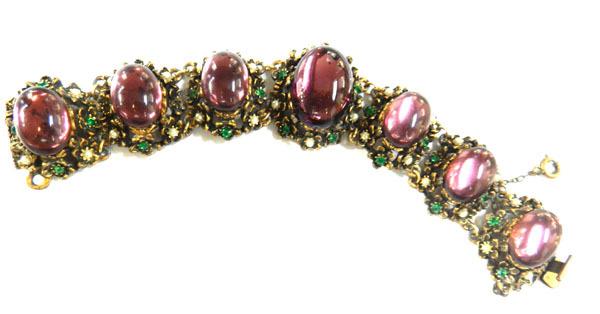 Exquisite Huge Amethyst Cabochon Glass Vintage Bracelet