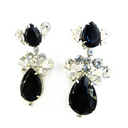 Fabulous 1950s Jet Black and Ice Glass Huge  Diva Earrings