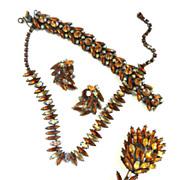A Blooming Beauty Huge Regency Brooch Necklace Earrings Bracelet