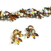 Gorgeous VintageTopaz Rhinestone Designer Bracelet ad Earrings