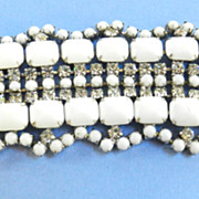 Bedazzling Huge White Milkglass and Rhinestone Vintage Bracelet