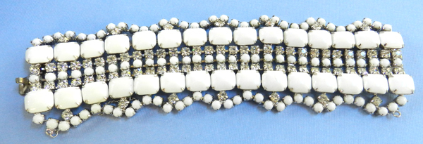 Bedazzling Huge White Milkglass and Rhinestone Vintage Bracelet