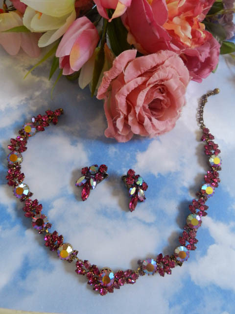 Fabulous Austrian Vintage Fuchsia Necklace and Earrings