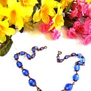 Humongous Glass Stone Early 1900s Czech Necklace