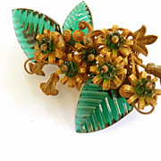 Rare 1940s Haskell Carved Glass  Collectors Dream Humongous Brooch must C