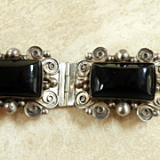Vintage 50s Mexican Sterling Silver Black Onyx Bracelet