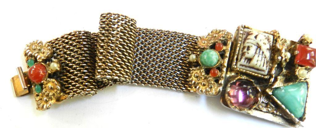 Egyptian Revival Fabulous Carved Stones Big Bracelet  Vintage 50s