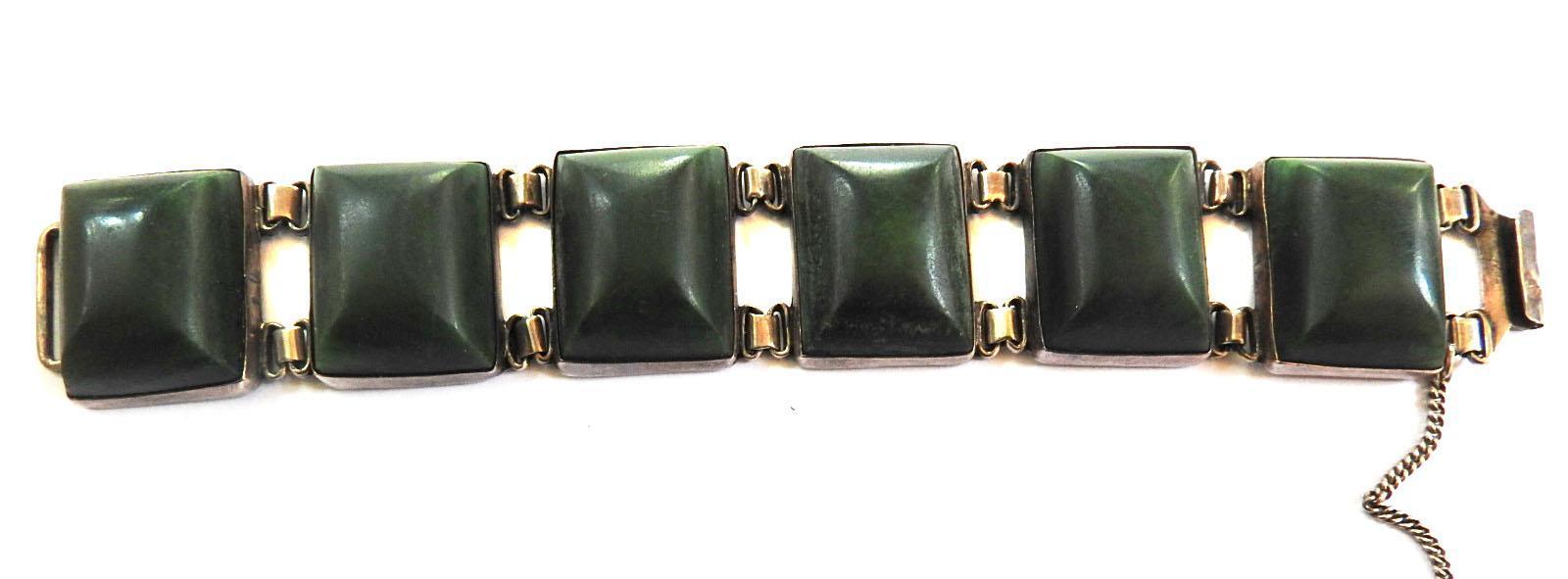 Big Vintage 40s Mexican sterling Silver Panel Stone Bracelet