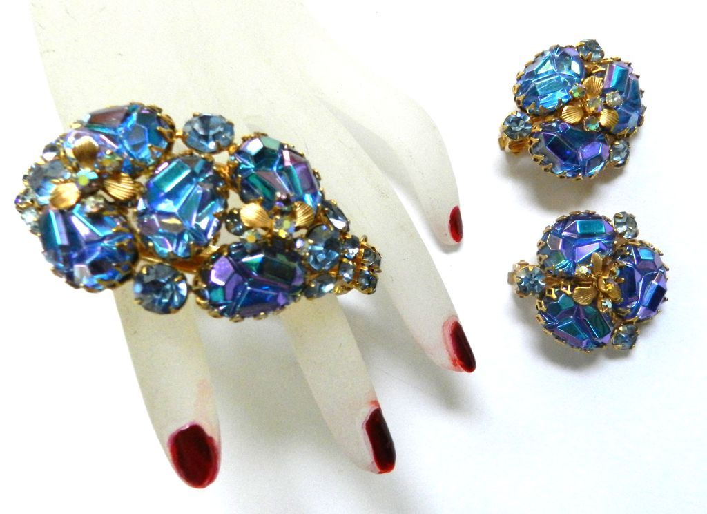Vintage Over the Top Caviness1950s  Rhinestone Geode Bracelet and Earrings