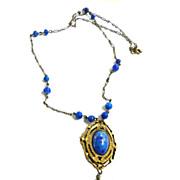 Early 1900s Czech Lapis Glass Pendant Necklace