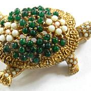 Vintage Ciner Encrusted Tortoise Pin