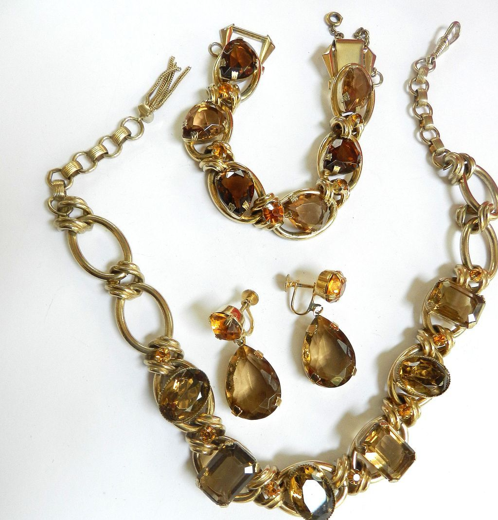 fabulous Topaz Big Chunky Link Bracelet Earrings Necklace