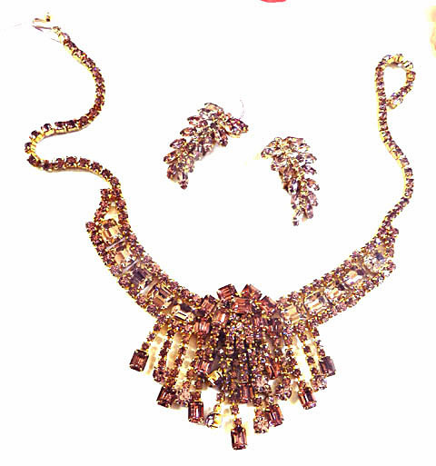 Spectacular Alexandrite Huge Drippy Rhinestone Necklace and Earrings Vintage  50s