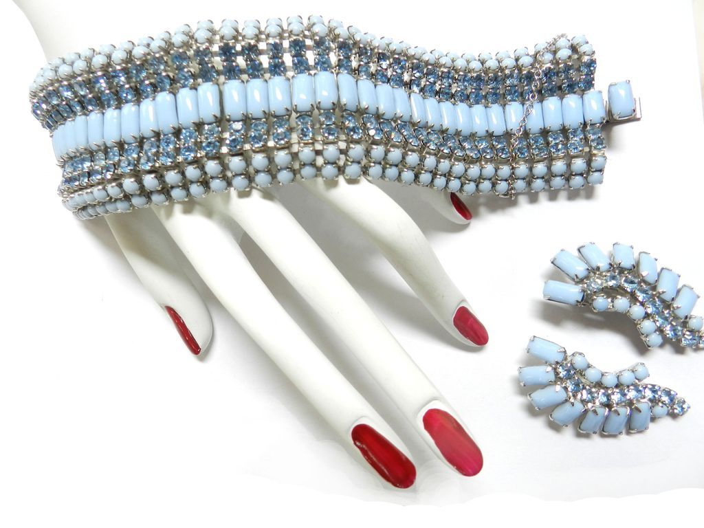 Chase the Blues Away Grandiose Vintage Huge 9 Rows of Rhinestones