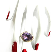 Vintage Sterling Silver Amethyst Detailed Ring