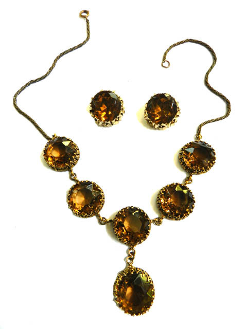 Big Drippy Multi Faceted Vintage 40s Necklace and Earrings