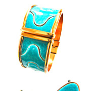 Unique Matisse Copper and Enamel Puzzle Bracelet and Earrings
