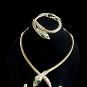 Outrageous Vintage Coro Cobra  Snake Parure Necklace Bracelet Earrings