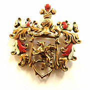 Fabulous Mystical  Big Heavy Coat of Arms with Griffin Enamel 1930s