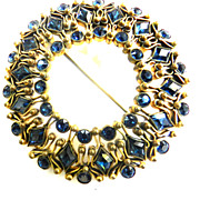 Grandiose Czech Early 1900s Montana Blue Filigree Rhinestone Brooch
