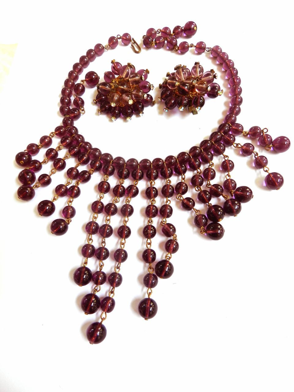 Show Stopper Huge Glass Amethyst Egyptian Revival Necklace and Earirngs