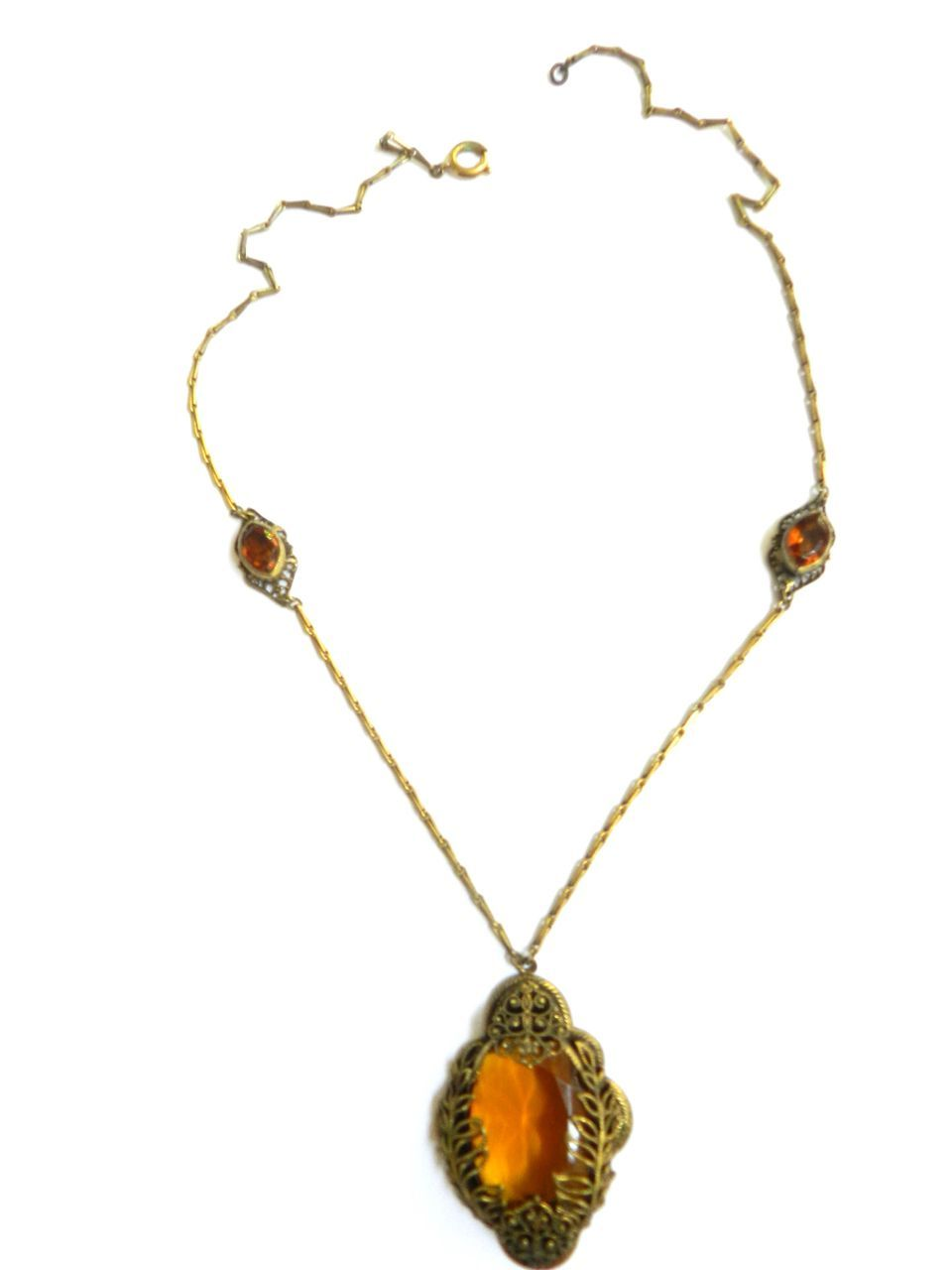 Czech Victorian Topaz Pendent Necklace Old World Charm
