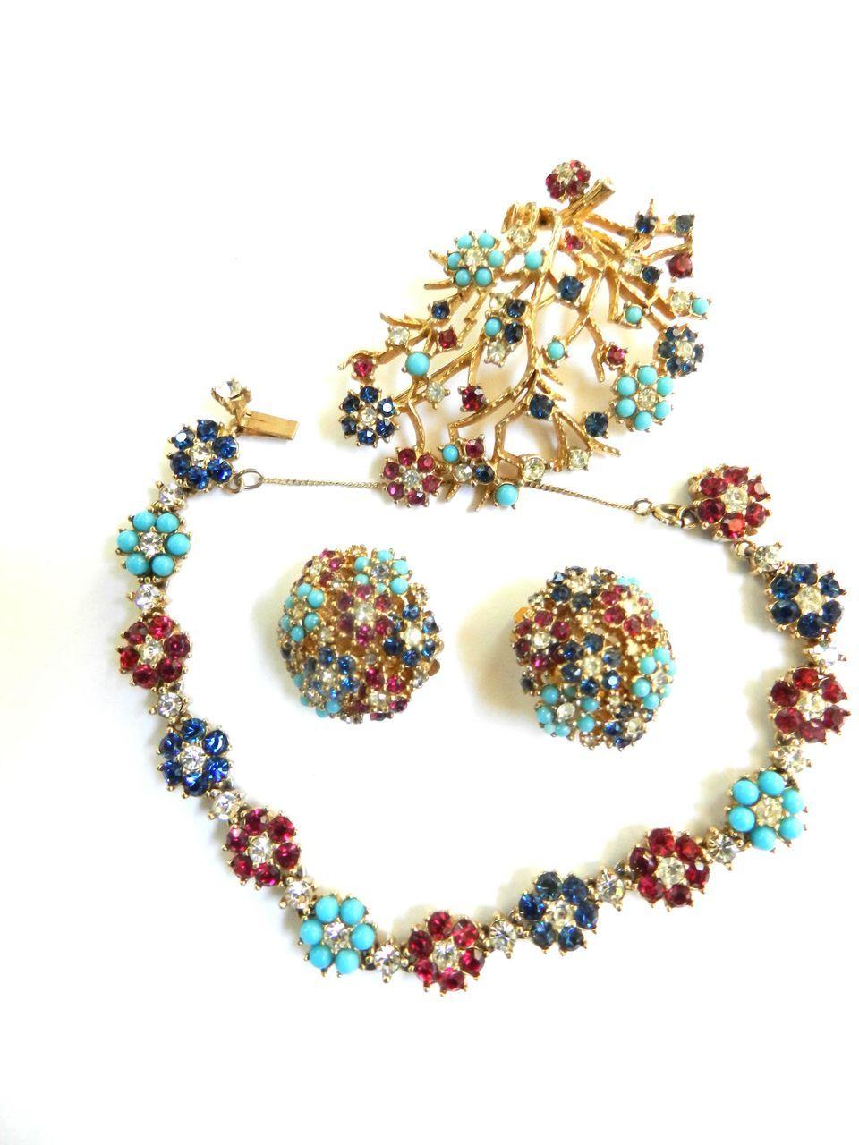 Elegant Vintage Ciner Bracelet Earrings Brooch Demi