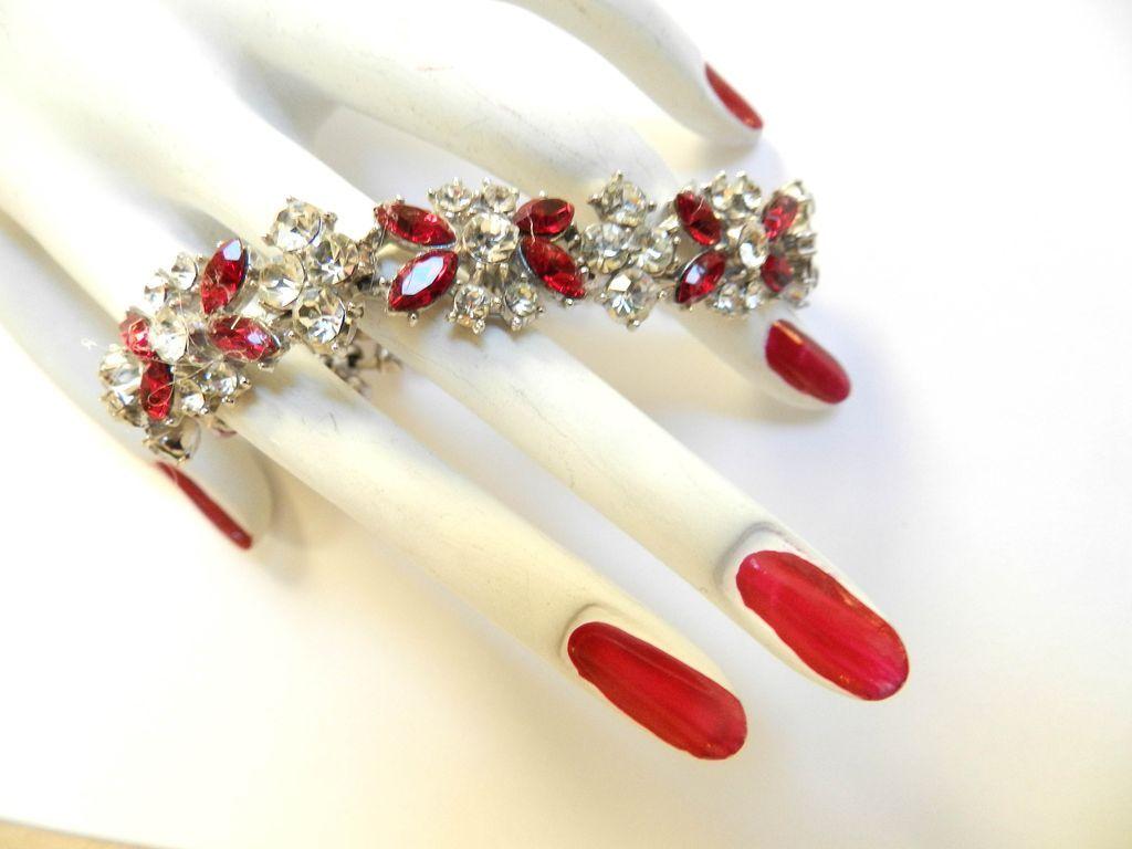 Vintage 50s Trifari Ruby Red Rhinestone Bracelet
