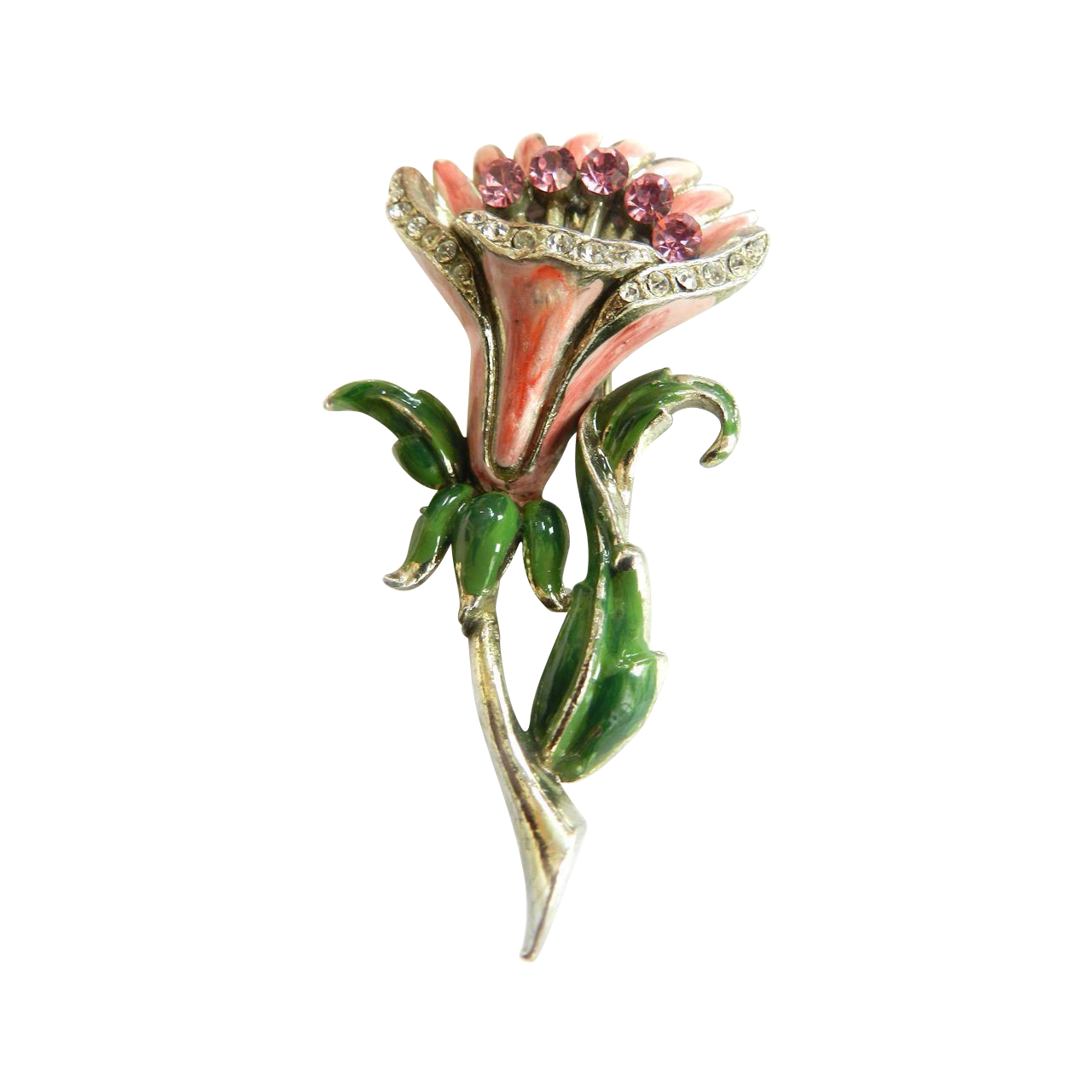 Vintage 1940s Trembler Huge Pink Flower Brooch
