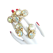Vintage Alice Caviness Humongous Rhinestone Bracelet and Earrings