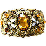 Extravagant Topaz Huge Czech Clamper Bracelet Early 1900s