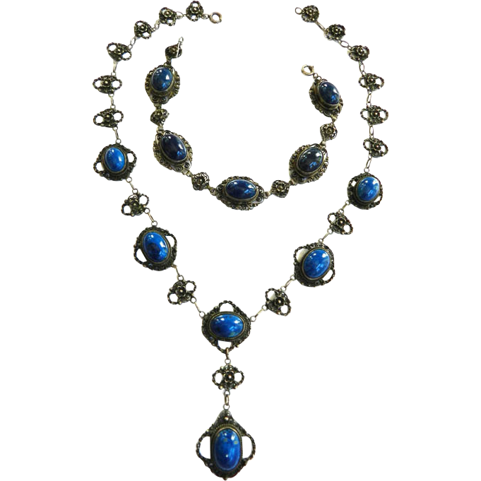 Gorgeous 800 Silver Early 1900s Lapis Necklace Bracelet