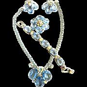 Chase the Blues Away Huge Glass Necklace Bracelet Brooch Bracelet 1950s
