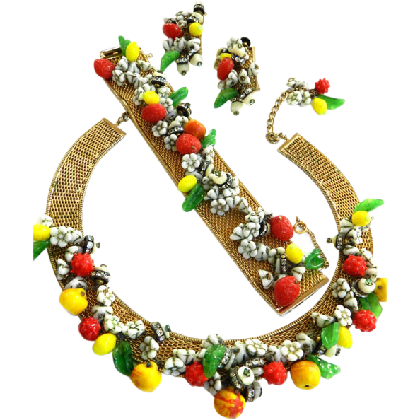 Extravagant 1950s Hobe Fruits of Summer Necklace Bracelet Earrings