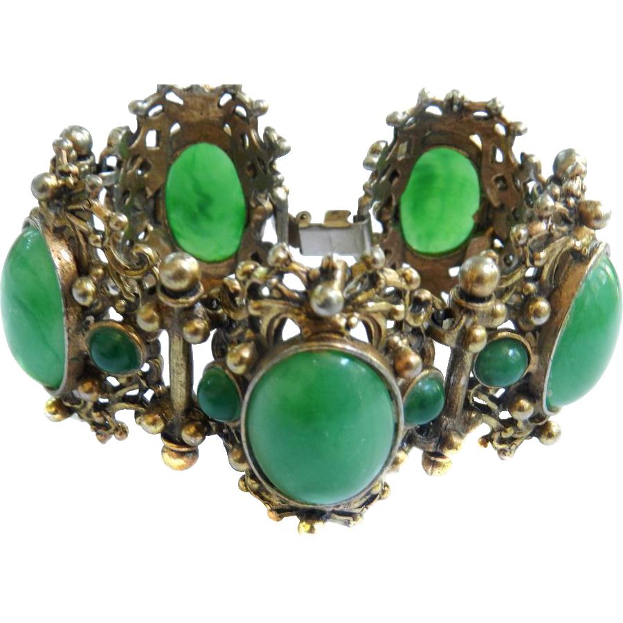 Sensational Massive Emerald Green Cabochon Revival Vintage Bracelet