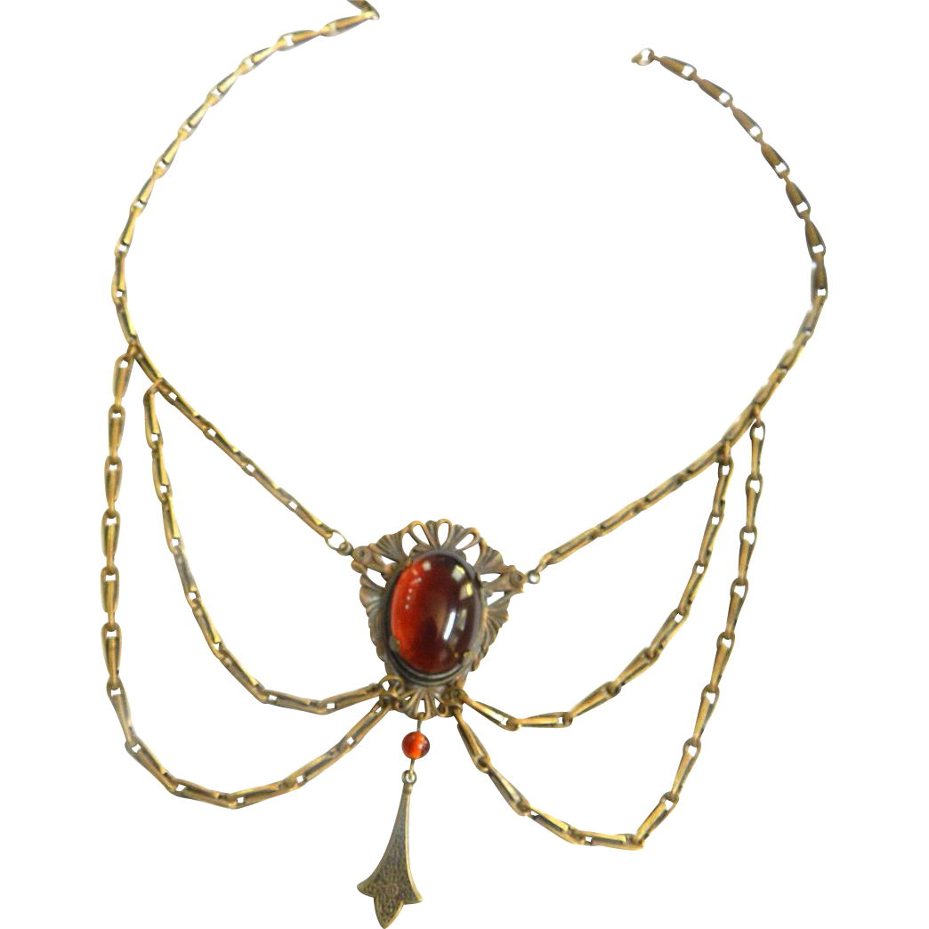1940s  Faux Amber Cabochon Festoon Necklace