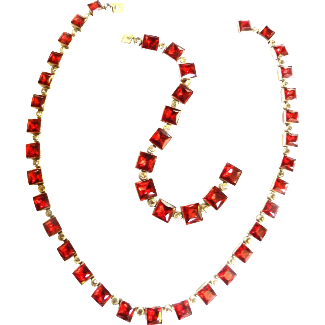 Breathtaking Red Art Deco Style 1930s Necklace and Bracelet
