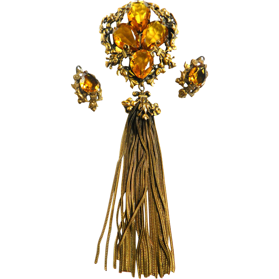Magnificent Joseff of Hollywood Humongous Tassel Brooch and Earrings 1930s