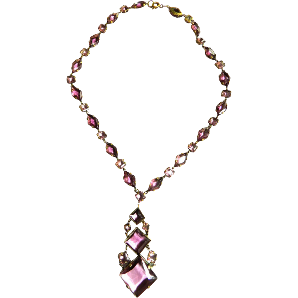 Exquisite Early 1900s Czech Amethyst Drippy Necklace
