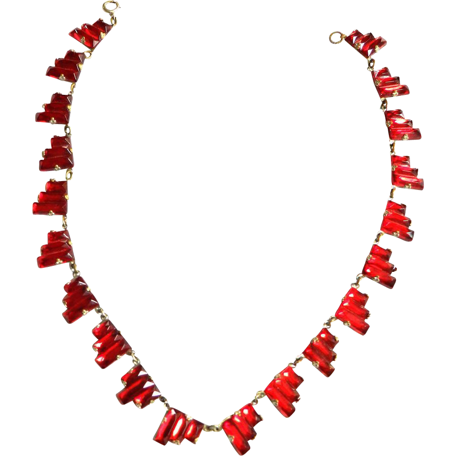Early 1900s Czech Ruby Red Step Art Glass Necklace