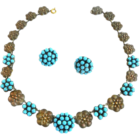 1930s Faux Turquoise Beaded Necklace and Earrings