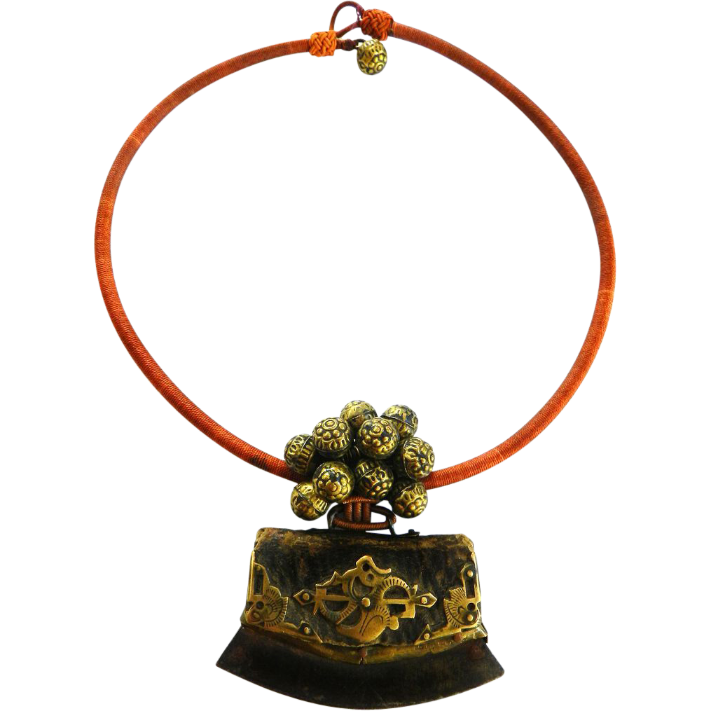 Flint Fire Starter Necklace: Late 1800s Chinese Fire Starter Archaeological Necklace