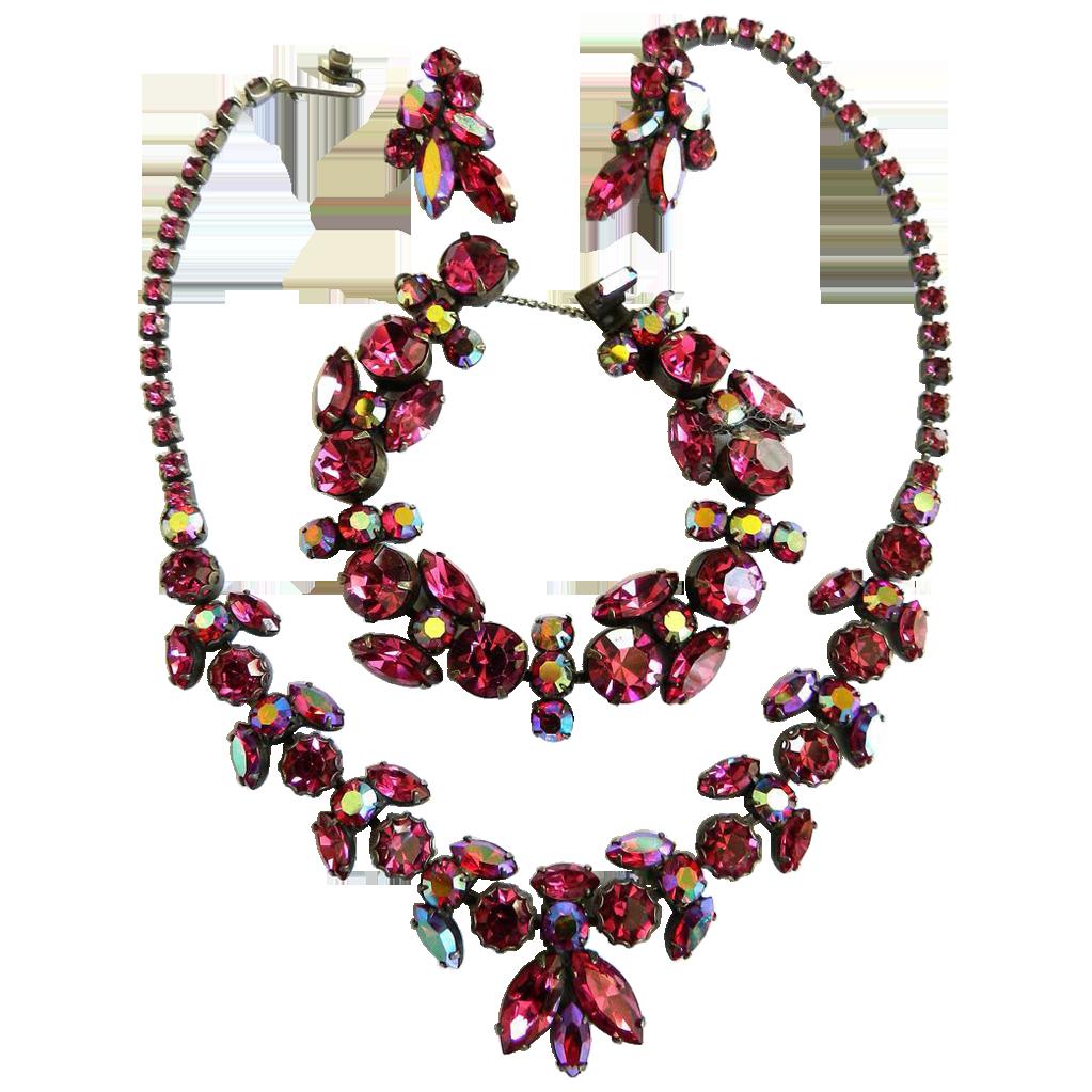 Return to Elegance Fuchsia Rhinestone Parure Regency 1950s