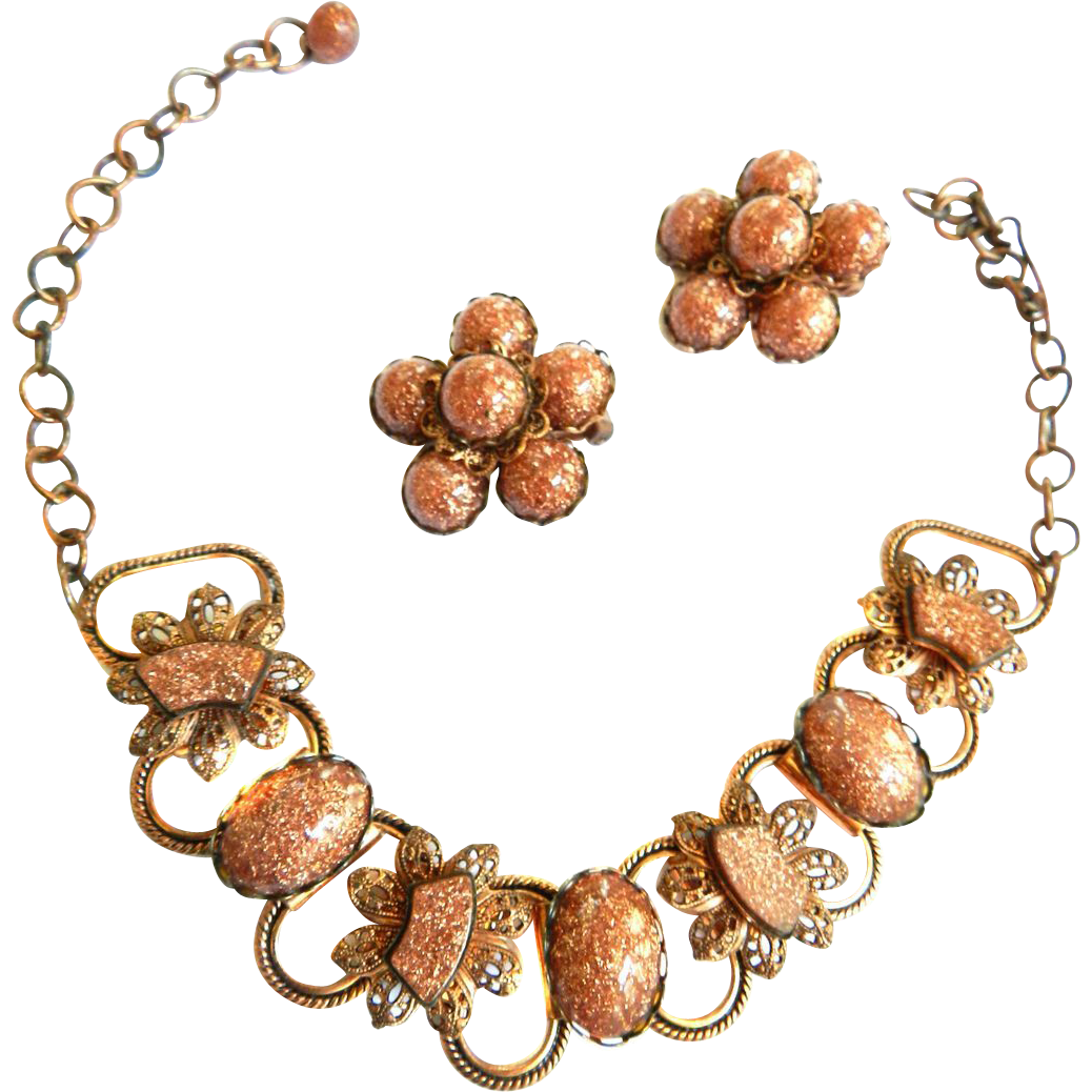 Impressive Copper and Art Glass Cabochons Vintage 50s Necklace and Earrings