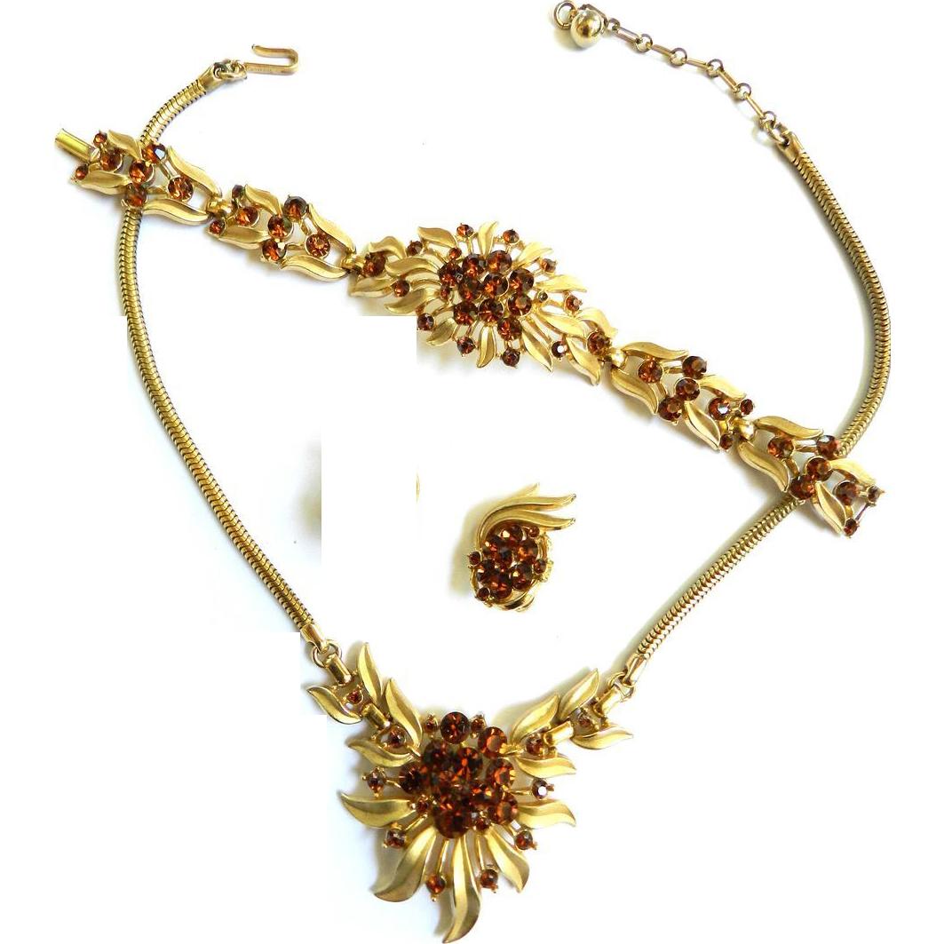 Vintage Crown Trifari 50s Starburst Necklace Bracelet Earrings