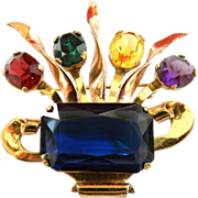 Wonderful 1940 Coro Glass Flower Basket Brooch